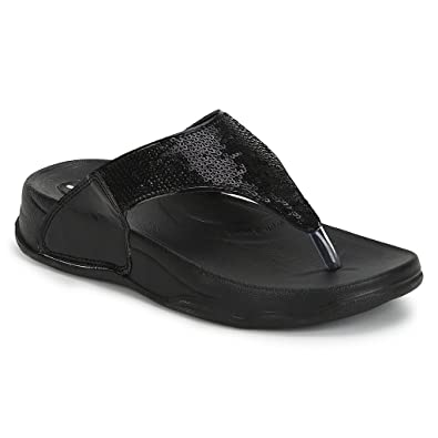 7036d00d0 Welcome Pure Hf-06 Synthetic Black Flip Flops For Women  Buy Online at Low  Prices in India - Amazon.in