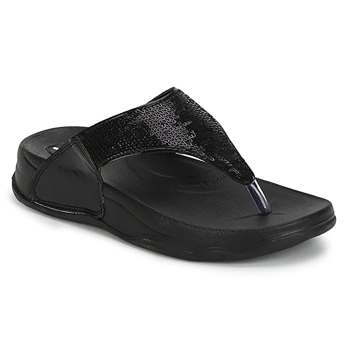 Welcome Pure Hf-06 Synthetic Black Flip Flops For Women Women's Flip-Flops & Slippers at amazon
