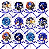 Sonic the Hedgehog Party Favors Supplies Decorations Video Game Lollipops Suckers with Dark Blue Ribbon Bows Favors -12 pcs