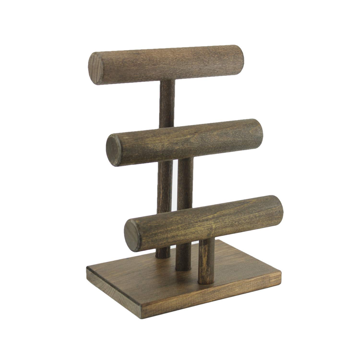 Jewelry Display Stand - Three Tier, Handmade in USA, Solid Wood T-Bar Display, Bracelet Watch Stand, Craft Show, Boutique Rustic Rack, 3 Tier