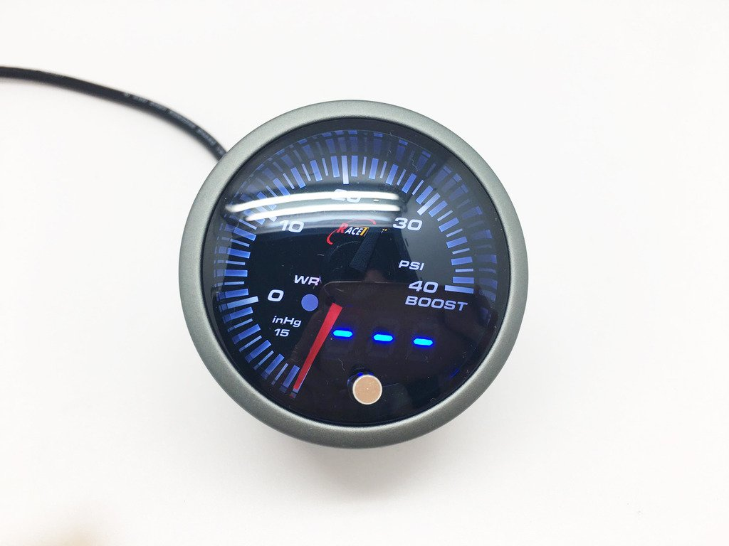 52/mm JDM Boost Turbo calibro misuratore di avvertimento Smoke Lens bianco ambra psi 1