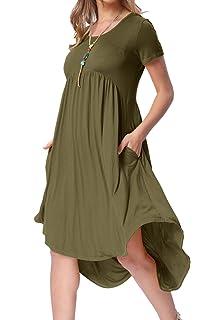 54e73f6ef levaca Women's Scoop Neck Pockets High Low Pleated Loose Swing Casual Midi  Dress