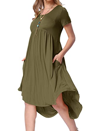 d7fe1096b levaca Womens High Low Pleated Flowy Loose Casual Straight Dress Army Green  S