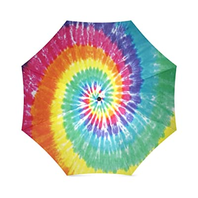 Easter Day/Thanksgiving Day Gifts Colorful Tie Dye Folding Windproof outdoor Travel Umbrella for Women