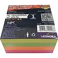 Bloco Adesivo Cubo Colorido 76mmx76mm 400 Folhas Jocar Office Leonora, Colorido