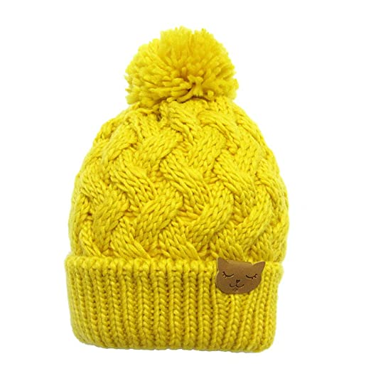 Miaha Bright Color Yellow Hat for Girls Winter Warm Knitting Crochet Hats  Cap 534f3cd3c0b
