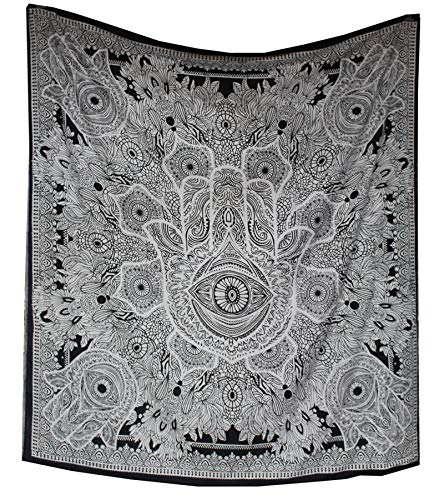 raajsee Exclusive Hamsa Hand Tapestry for Goodluck, Gray Indian Mandala Wall Art, Black and White Tapestry, Hippie Wall Hanging, Bohemian Bedspread