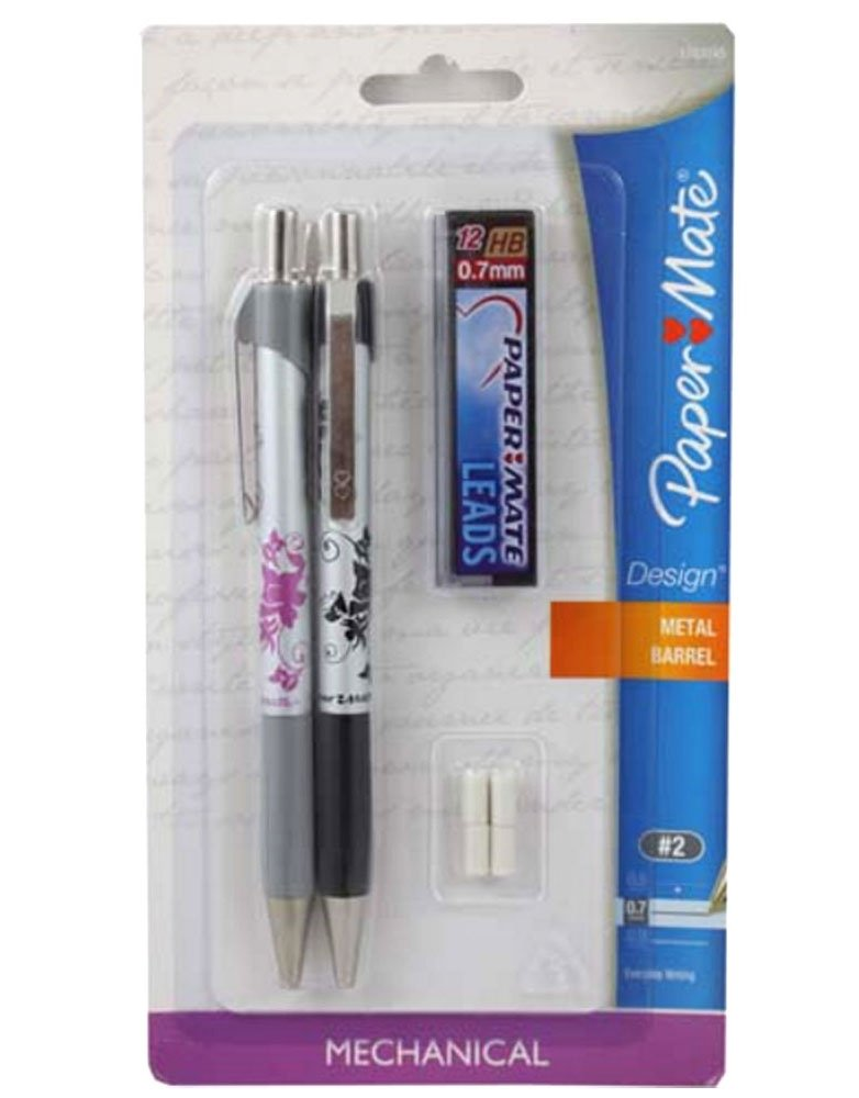Papermate Floral Design 0.7mm Mechanical Pencil Starter Set, 2 Pencils, 12 Lead Refills and 4 Eraser Refills