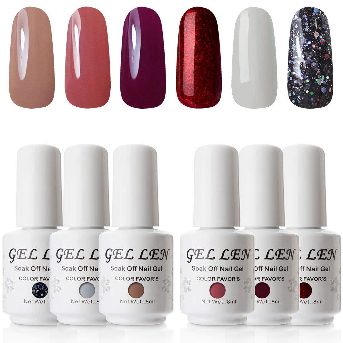 e8095d01b8 Amazon.com : Gellen UV LED Gel Nail Polish Set Muddy Earthy Colors Nude  Shade Kit 6 Colors 8ml Each : Beauty