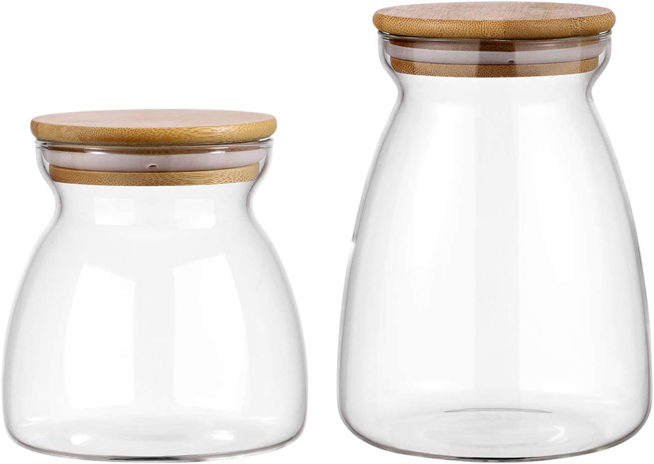 UPKOCH 2pcs Glass Food Storage jar Transparent Airtight Sealed Food Can Canister Bottle with Cork for Spices Sugar Salt Tea Coffee Bean (700ml 1100ml)