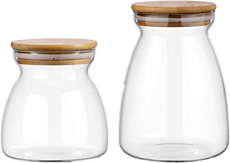 Food Storage Canister with Cork Stopper Glass Jar for Storing Tea Salt Sugar