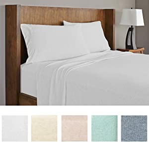 Royale Linens Soft Tees Cotton Modal Jersey Knit Sheet Set, Queen, Silver