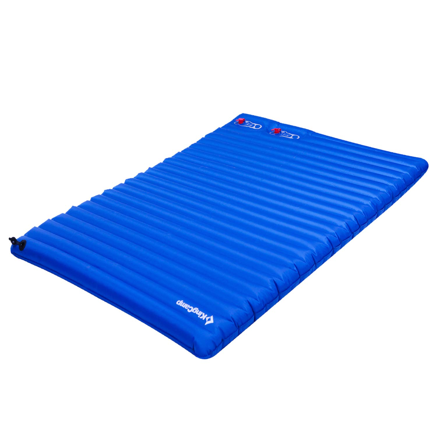 KingCamp Light Double Size Outdoor Camping Air Mattress Mat Pad Bed with Built-in Foot Pump, Blue, Double by KingCamp