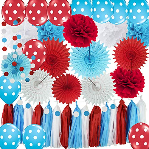 Dr Seuss Cat in The Hat Party/Bridal Shower Decorations Turquoise White Red Tissue Pom Pom Polka Dot Ballons Tissue Paper Fans for Dr Suess Decorations Baby Shower Decorations/Birthday Decorations -