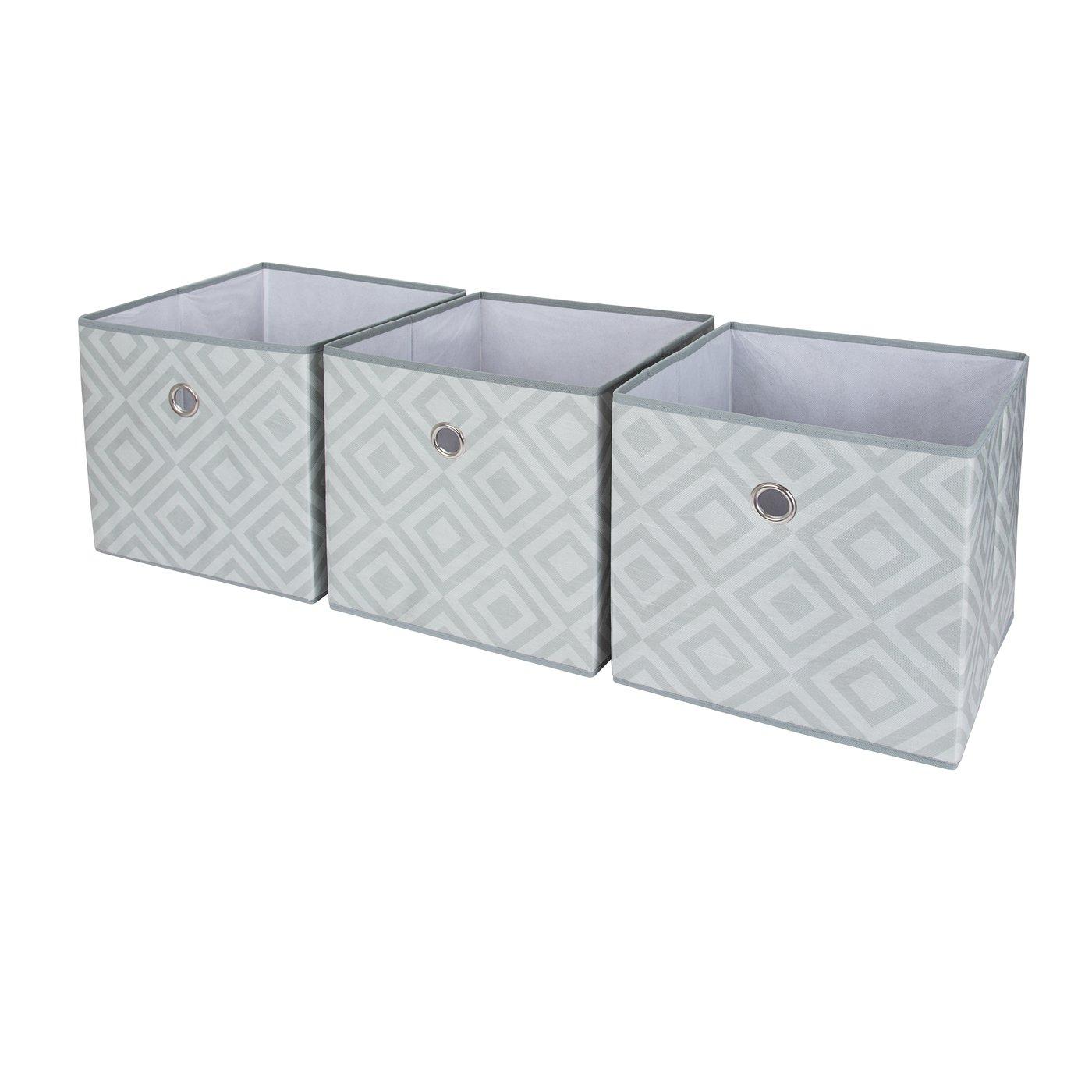 SbS cajas plegables de almacenamiento de tela plegable, cubos, cajas, zapatillas de deporte. Diamante Gris, (Paquete de 3). Cada bandeja de almacenamiento mide 28 cms en todos los lados