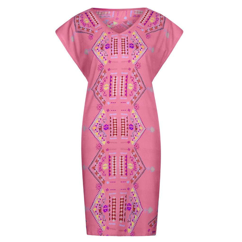 Womens Vintage Printed V Neck Cap Sleeve Casual Easy Short Mini Dresses