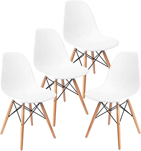 Mecor Dining Chairs Mid Century White Plastic Chairs Set of 4 Wooden Legs Chairs