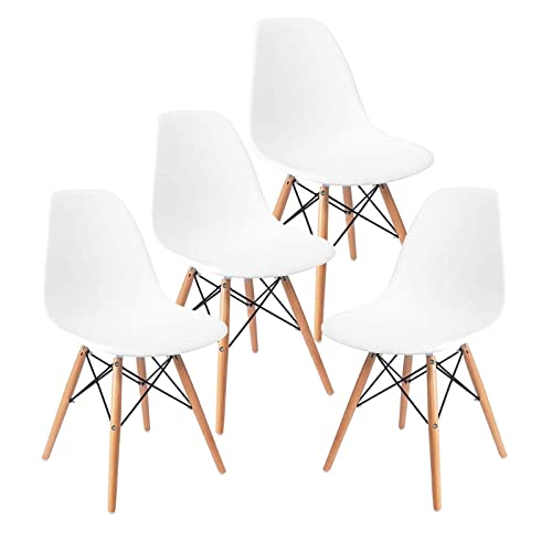 Mecor Dining Chairs Mid Century White Plastic Chairs Set of 4 Wooden Legs Chair