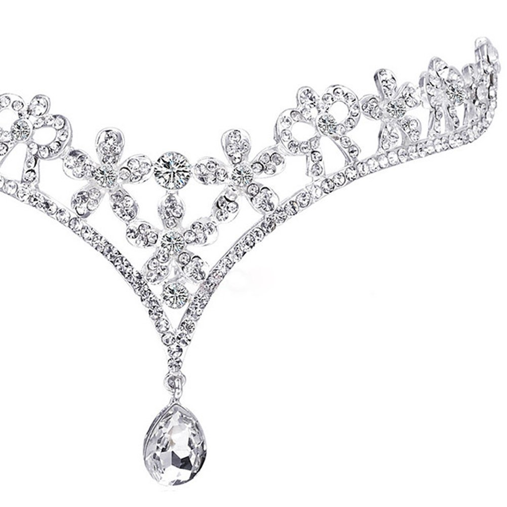 Bridal Wedding Floral Frontlet Decoration Eyebrows Rhinestone Water Droplets Prom Crown Party Headdress Hair Ornaments(silver-3)