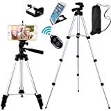 """FOANT Aluminum Professional Lightweight Camera Tripod for iPhone, Cellphone,Gopro Hero,Cameras,Camcorder with Cellphone Holder Clip and Remote Shutter-43""""/Silver"""