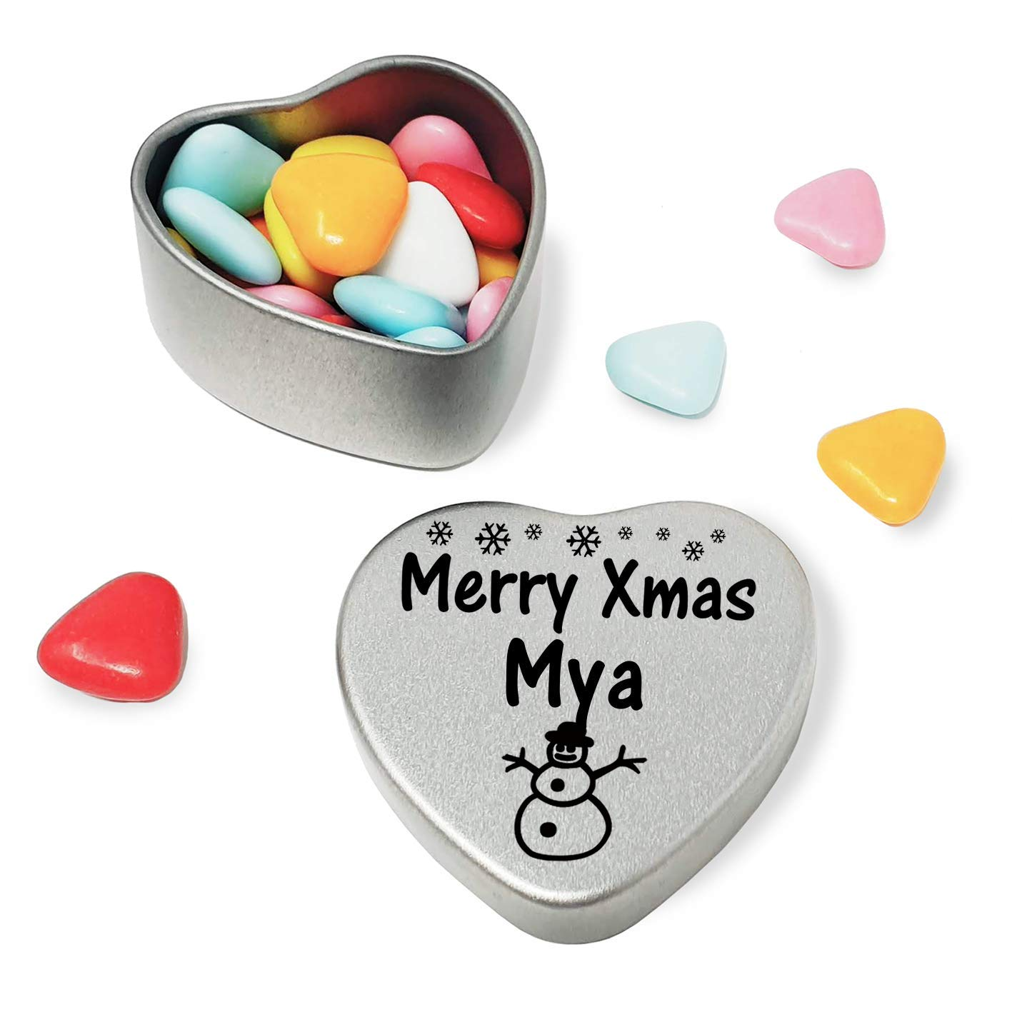 Merry Xmas Mya Heart Shaped Mini Tin Gift filled with mini coloured chocolates perfect card alternative for Mya Fun Festive Snowman Design