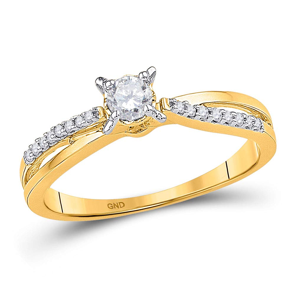 The Diamond Deal 10kt Yellow Gold Womens Round Diamond Solitaire Crossover Promise Bridal Ring 1/4 Cttw by The Diamond Deal