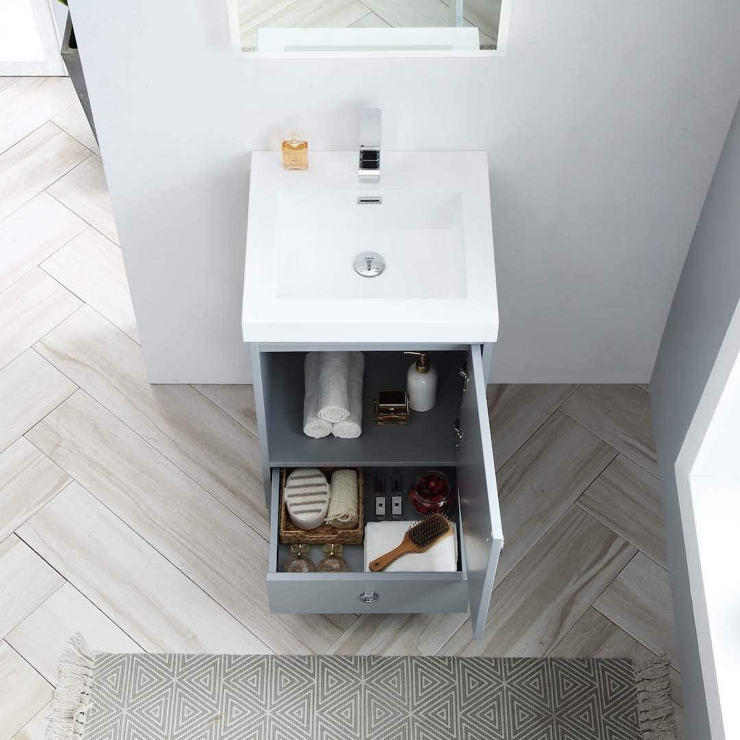 Freestanding Waterproof Ergonomic Design 20 Single Bathroom Vanity With Acrylic Sink 023 20 15 A 20 Inch Acrylic Metal Grey
