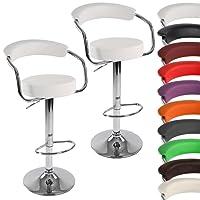 Miadomodo Coppia sgabelli da bar cucina regolabili con schienale e braccioli ca. 53/86/52 cm colore a scelta