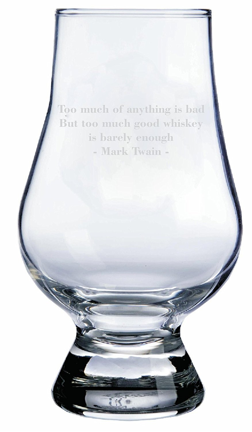 Mark Twain Quote Glencairn Whisky Glass Etched Laser Art