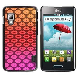 Planetar® ( Lips Kisses Pink Pattern Yellow Love ) LG Optimus L5 II Dual E455 E460 Fundas Cover Cubre Hard Case Cover