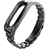 Para Xiaomi MI Banda 2, DoraMe Imán de acero inoxidable de lujo correa de muñeca Wristband metal (Negro)