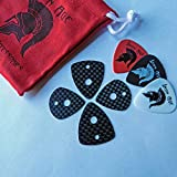 Carbon Fiber Guitar Picks - Ultra Lightweight & Super Strong - 4 pc Set - Traditional & Jazz3 Model Plectrums - Exotic Tone - Pouch Included, Great Gift - by Iron Age Guitar Accessories