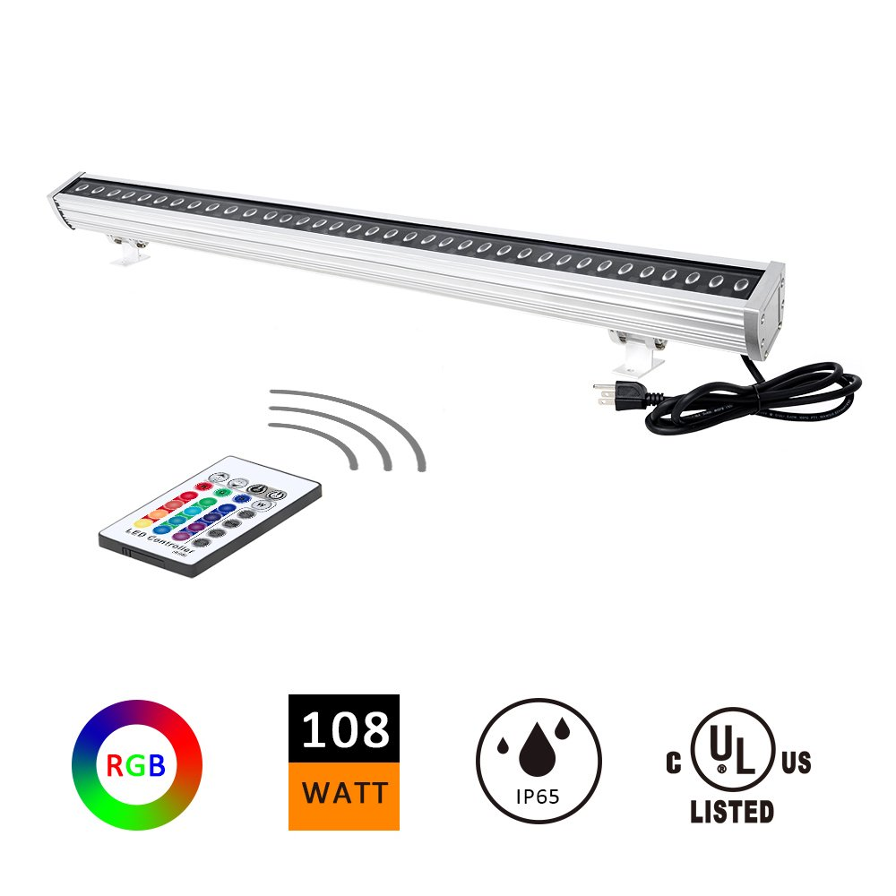 H-TEK 108W RGBW LED Wall Washer Light, Color Changing, Linear Light with RF Remote Controller, 120V, IP65 Waterproof, 3.2ft/40inches Length, LED RGB Light for Birthday Party, Carnival (Single Pack) by H-TEK