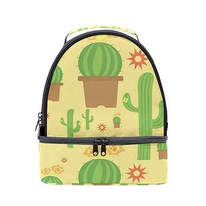 4b4f2acf08ba Amazon.com - HEOEH Cute Cactus Sunshine Lunch Bag Insulated Lunch ...