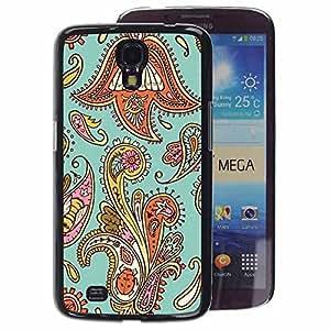 A-type Arte & diseño plástico duro Fundas Cover Cubre Hard Case Cover para Samsung Galaxy Mega 6.3 (Floral Weave Pattern Teal Oriental)