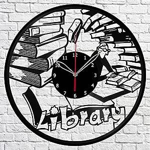 Biblioteca Fan Art libro disco de vinilo reloj de pared