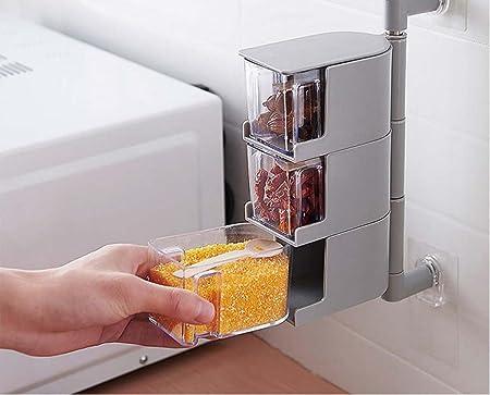 Caja de salsa giratoria de cocina sin clavos para montar en la pared con varios cajones: Amazon.es: Hogar