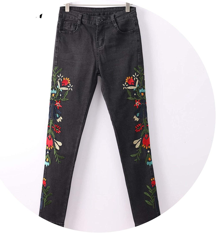 Closer-to-U Jeans with Embroidery Capri Black High Waisted Jeans Fl Pants Denim Pants Woman,Light Blue,S