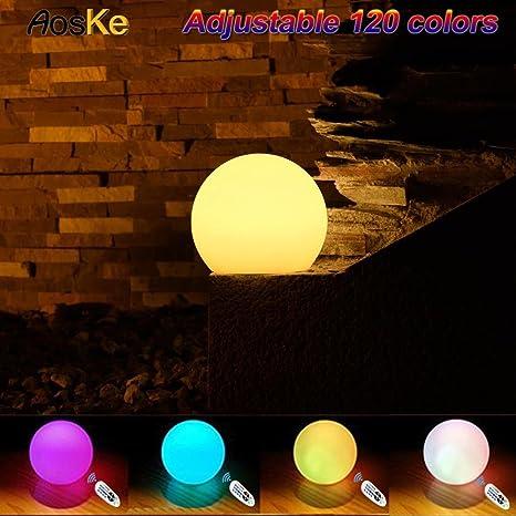 Amazon.com : AosKe 8-Inch LED Floating Pool Balls Waterproof Pool ...