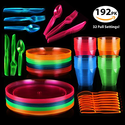 128 Piece Neon Party Supplies Set - Disposable & Heavy Duty, Includes: 32 Main Course 9 inch Plate, 6 inch Dessert Plates , 9-ounce Tumblers, Cutlery, Glow in the Dark (Glow In The Dark Party Cups)
