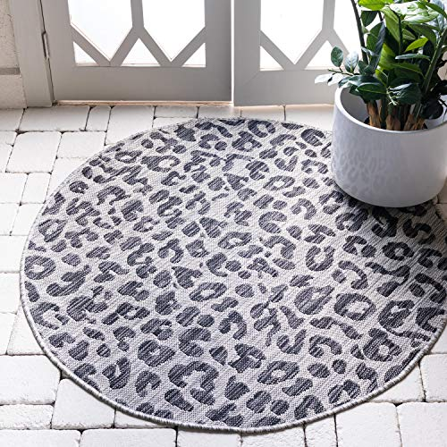 Unique Loom Outdoor Safari Collection Leopard Animal Print Transitional Indoor and Outdoor Flatweave Light Gray  Round Rug (4' 0 x 4' 0) (Animal Round Print Rug)