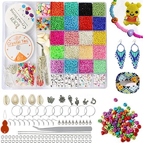 Perline per Braccialetti Perline Colorate, Perline Vetro Colorate 3mm Perline Lettere Alfabeto Set Perline Fai da Te, Mini Perle di Braccialetti, Collane, Bigiotteria