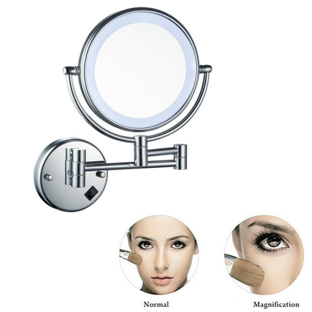 Homyl Metal Double Sided LED Light Wall Mount Mirror Makeup Shaving 3X 5X 7X Rotatable and Adjustable - Chrome, 7x Magnification by Homyl (Image #3)