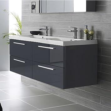 meuble salle de bain double vasque gris laqu