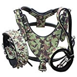 Benala Silver Spikes Studded Leather Dog Pet Collar Harness Leash 3Pcs Set Walking Medium Large Dogs Pitbull Boxer (Camouflage,M)