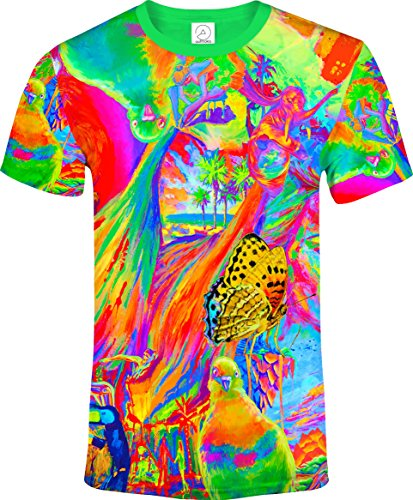 aofmoka Floral Animal Girls Pigeon Bird Butterfly Elephant Cat Blacklight UV Neon Fluorescent Print T-Shirt Men, Size X Small
