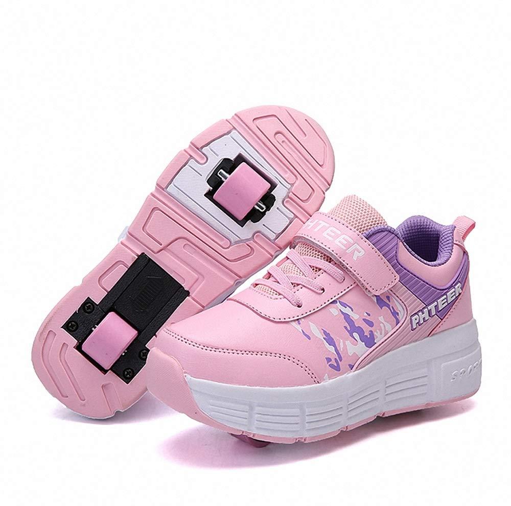 Miarui Roue Chaussures de Sport Double Roues Skateboard Sneakers Enfants Chaussures /à Skates avec roulettes Doubles Bouton Poussoir Ajustable pour Gar/çons et Filles Enfants,Bleu,31