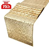 : Sequin Table Runners Gold-AMAZLINEN 12 By 108 Inch Glitter Gold Table Runner-Gold Event Party Supplies Fabric Decorations For Wedding Birthday Baby Shower