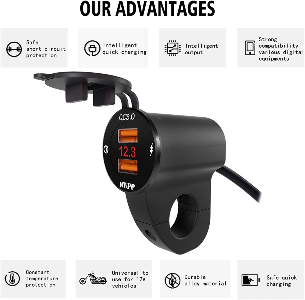 Black//White Color Optional DEALPEAK Waterproof 12V Motorcycle QC3.0 Dual USB Charger Ports Power Adapter with Digital Voltmeter for smartphones tablets and GPS