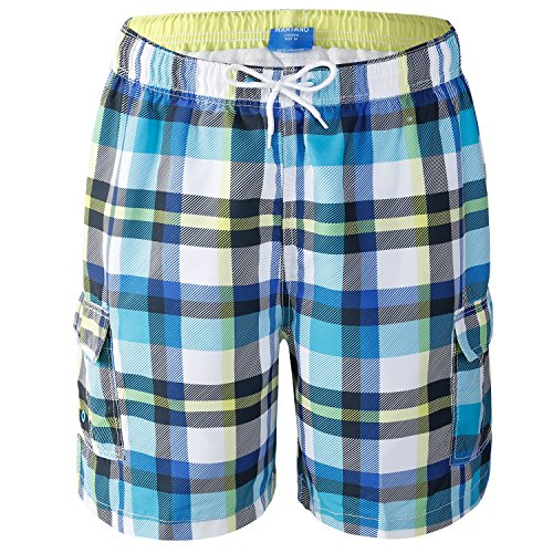 - AjezMax Men's Swiming Trunks Shorts Plaid Board Beach Shorts Swimsuit with Cargo Pockets Mesh Lining Size XL